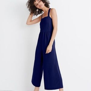 Madewell Smocked Button-Front Crop Jumpsuit